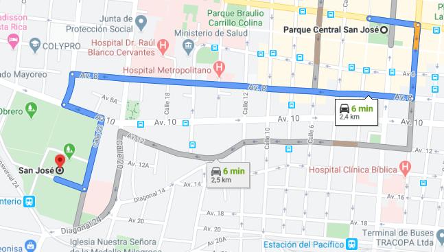Como llegar a Parque Central San José Costa Rica