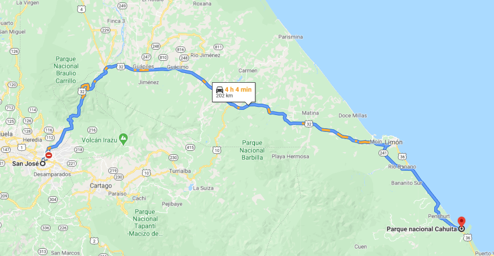 Como llegar a Parque Nacional Cahuita