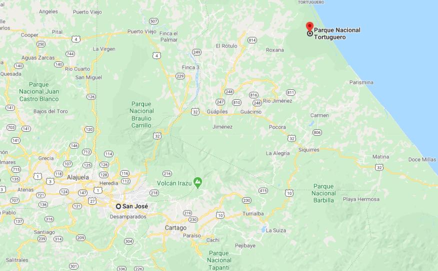 Como llegar a Parque Nacional Tortuguero