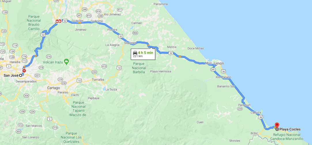 Cómo llegar a Playa Cocles, Costa Rica